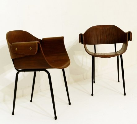 Pair of Plywood Molding Armchairs, Italy 1955