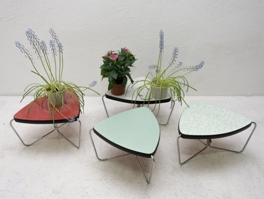 Set of 4 Mid century chromed & formica plant stands, 1960s