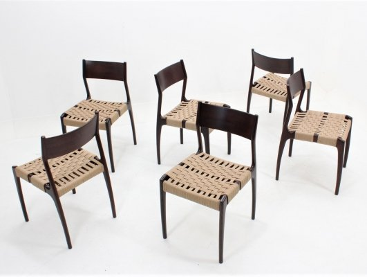 Set of 6 Vintage Italian 'Model 993' dining chairs by Studio Tipi for F.lli Montina