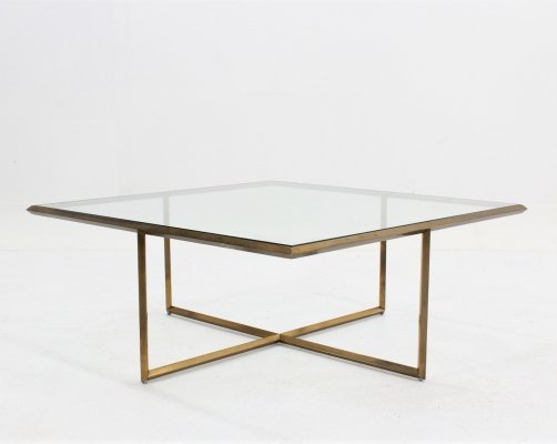 Vintage italian design geometric brassed coffee table, 1970s