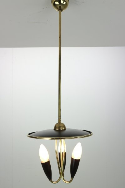 French Mid-Century Modern Brass & Black Metal Chandelier Lamp, 1950s