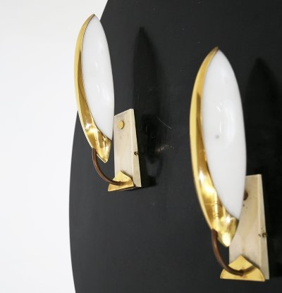1950s wall lamps in brass & plexiglass