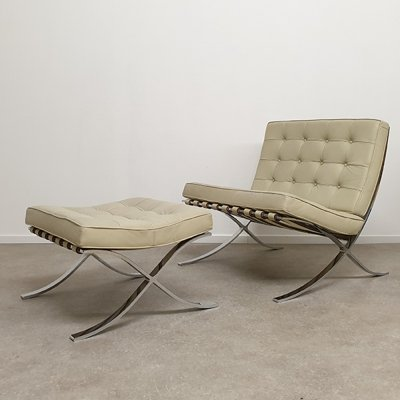 Barcelona Chair with Ottoman by Mies Van Der Rohe for Knoll International