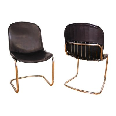 Pair of Gastone Rinaldi dining chairs in chrome & cow leather, Italy 1960s