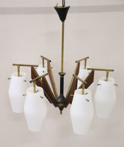 Six Lights Bulbs Chandelier by Stilnovo, 1950s