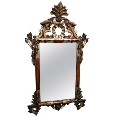 Vintage Carved & Silvered Mirror, 1950s