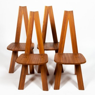 Set of 4 Chlacc dining chairs by Pierre Chapo for Chapo, 1970s