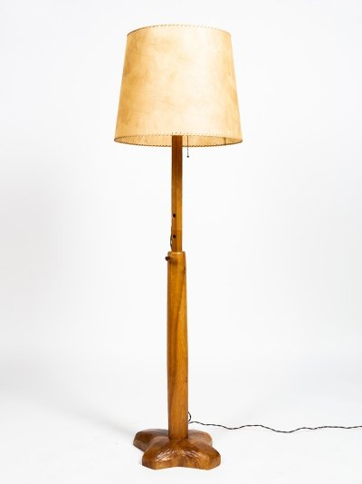 Carved walnut lamp by the Bernese artist Franz-Xaver Sproll, 40s -50s