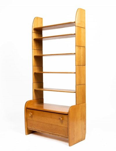Solid elm shelf by Arturo Milani for Wohnhilfe, 1950s