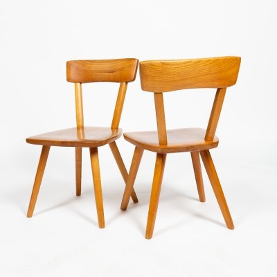 Pair of solid cherry chairs by Jacob Müller, 1950s