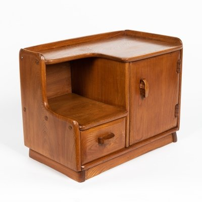 Small carved solid elm cabinet by Franz Xaver Sproll for Sproll Möbel Bern, 1950s