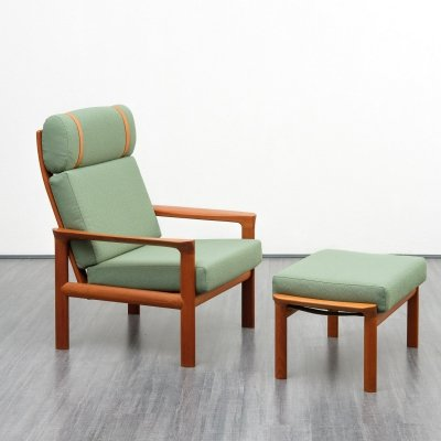 Danish armchair with foot-stool by Sven Ellekaer for Komfort, 1960s