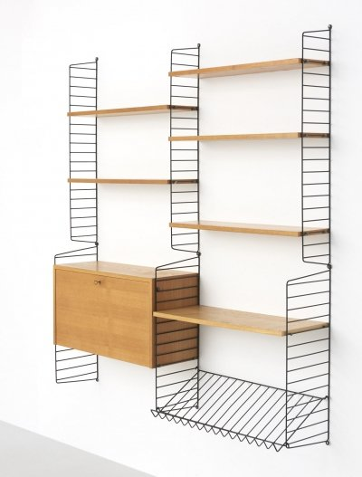 Wall unit by Nisse Strinning & Kajsa Strinning for String Design AB, 1960s
