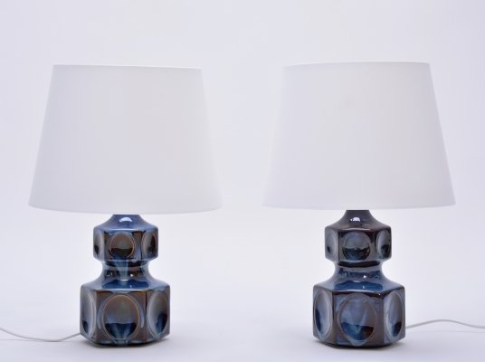 Pair of Vintage Blue 'Model 1062' Table Lamps by Soholm, 1970s