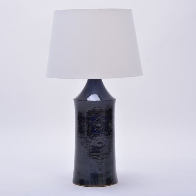 Tall Vintage Danish Ceramic Table lamp with Dark Blue Glaze