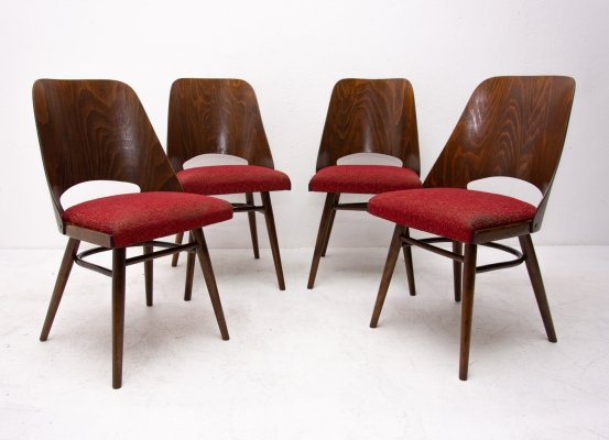Set of 4 Mid century bentwood dining chairs for ÚP Závody, 1960s