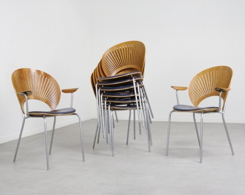 Set of 8 Trinidad dining chairs by Nanna Ditzel for Fredericia, Denmark 1993
