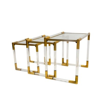 Lucite Nesting Table by Charles Hollis Jones, 1980s
