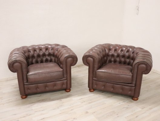 Pair of Vintage Leather Chesterfield Armchairs, 1960s