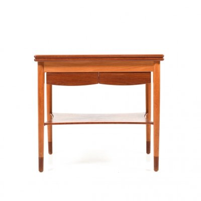 Mid Century Danish Game Table with Movable Table-Top in Teak & Beech Wood