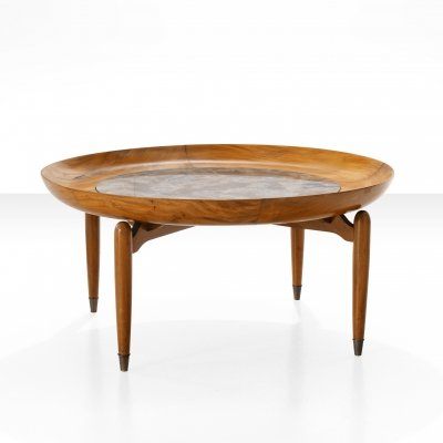 Giuseppe Scapinelli Round Coffee Table in Caviuna & Marble, Brazil 1960s