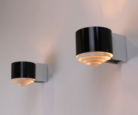 Pair of black & white line series sconces by Novalux, 1950s