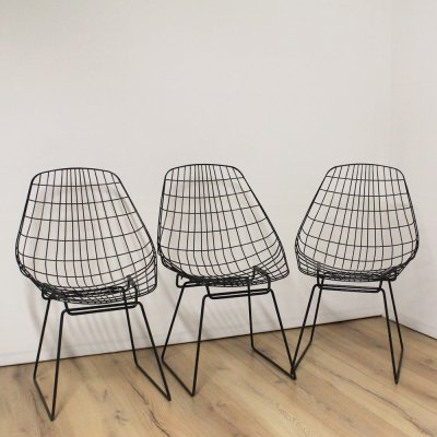 3 x Wire SM05 dining chair by Cees Braakman for Pastoe, 1970s