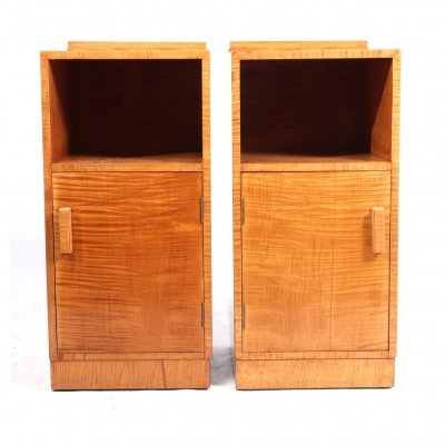 Art Deco Bedside Cabinets in Satin Birch