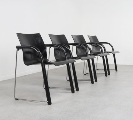 Set of 4 'Model S320' stackable dining chairs by Ulrich Böhme & Wulf Schneider for Thonet, 1970s/80s