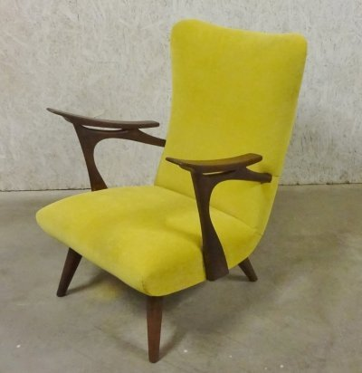 Yellow Wingback lounge armchair, 1950s