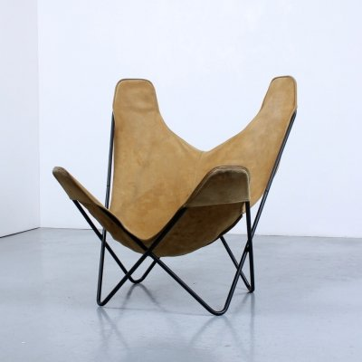Beige & black foldable Butterfly chair by Jorge Ferrari Hardoy, 1950s
