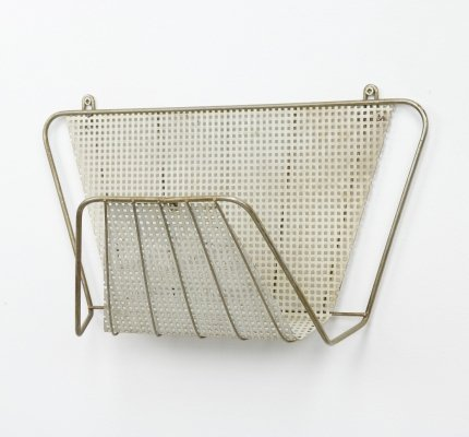 Magazine rack in perforated metal & brass, 1950s