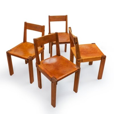 Set of 4 Pierre Chapo S24 Chairs, 1970s