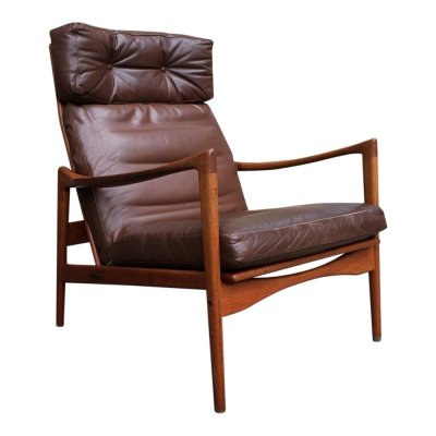 High Back Brown Leather Easy Chair by Ib Kofod-Larsen for OPE, Sweden 1960s