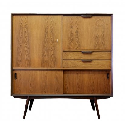 Danish Highboard In Rosewood With Bar, 1960s