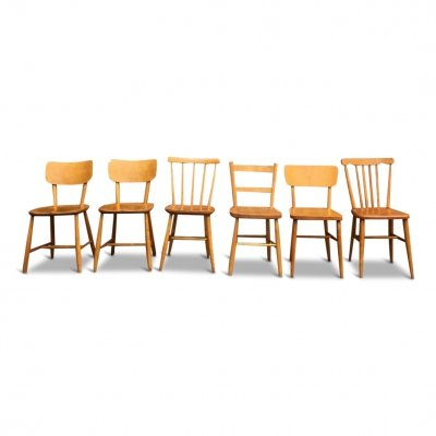 6 x Mid-Century Beech Wood Dining or Kitchen Chairs, Sweden 1960s