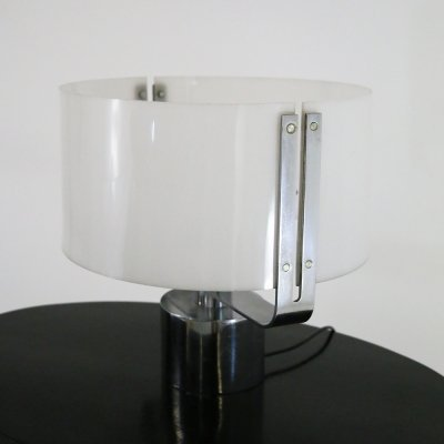 Jacques Quinet table lamp in plexiglass & chromed steel, 1960s