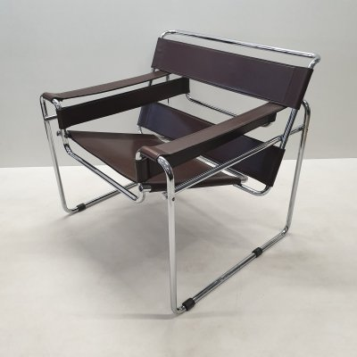 Brown leather Wassily B3 chair by Marcel Breuer for Gavina, 1970s