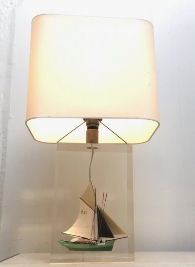 Large lucite table lamp with boat