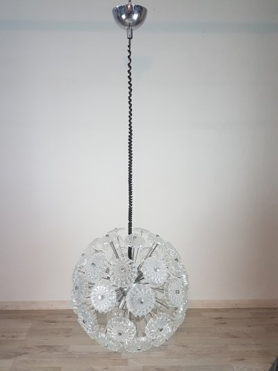 Sputnik Chandelier in Glass & Chromed Steel, 1980s