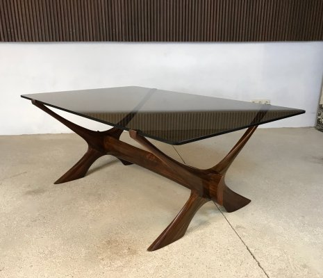 Rosewood & Glass Condor Coffee Table by Fredrik Schiever-Abeln for Örebro, 1960s