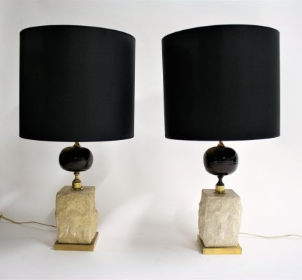 Pair of Vintage travertine egg table lamps, 1970s