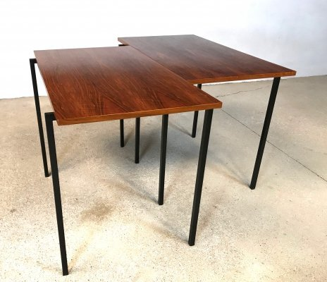 Pair of Minimalist Mid-Century Walnut & Steel Stacking Side Tables, 1960s