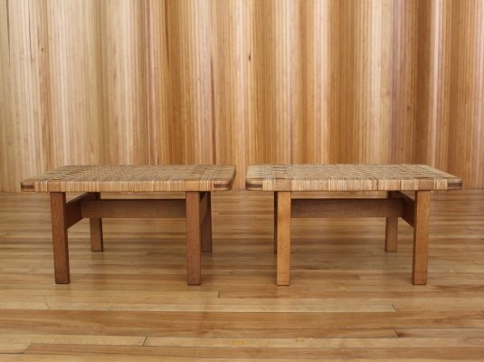 Pair of Borge Mogensen model 273 oak side tables / benches by Fredericia Denmark