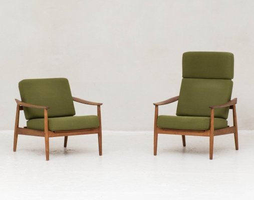 Set of 2 model FD164 reclining easy chairs by Arne Vodder