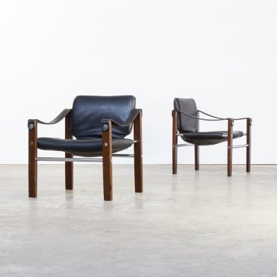 Pair of Maurice Burke black leather 'Chelsea' safari chairs for Pozza