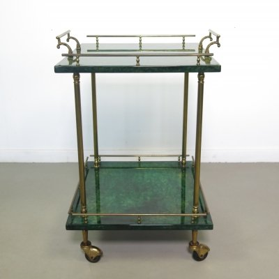 Aldo Tura Side table / serving cart, 1950's