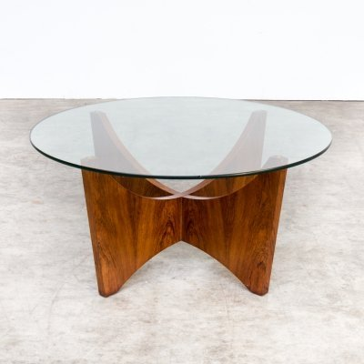 70s round wood framed coffee table with glass table top