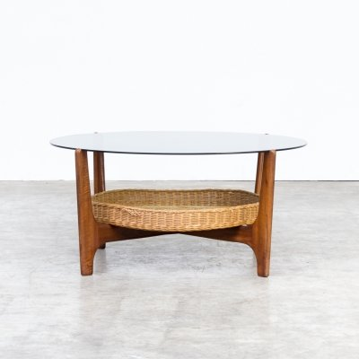 70s Teak round coffee table with smoked glass