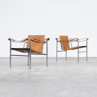 Pair of Le Corbusier 'LC1' chairs for Cassina, 1960s